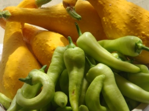 Banana peppers and yellow squash